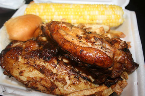 Barnyard BBQ Chicken Meal with Corn on the Cob and Fresh Cut Fries